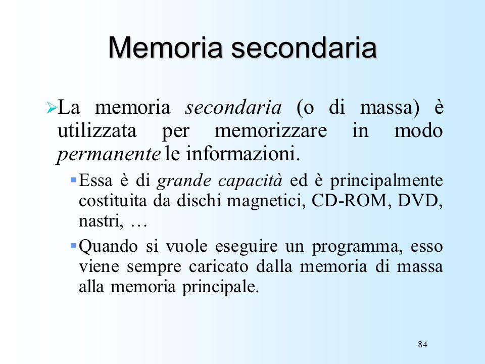 Memoria secondaria La memoria secondaria (o di massa) è utilizzata per memorizzare in modo permanente le informazioni.
