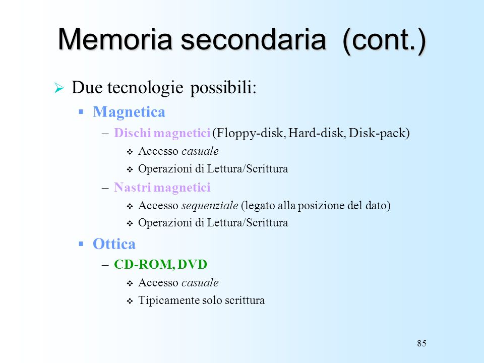 Memoria secondaria (cont.)
