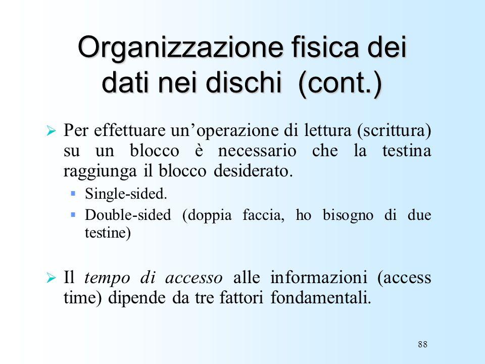 Organizzazione fisica dei dati nei dischi (cont.)