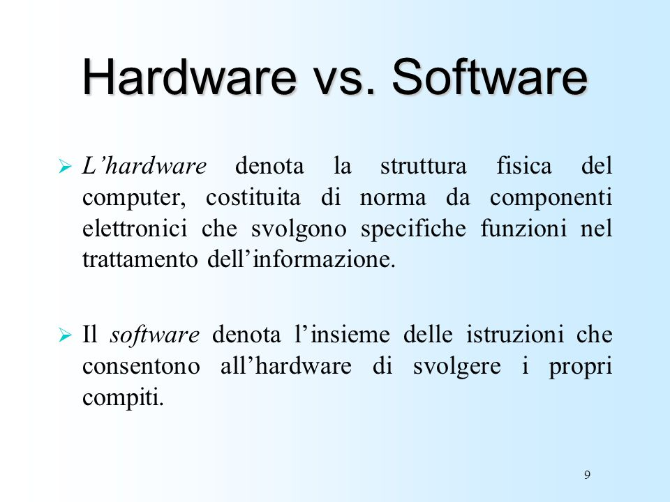 Hardware vs. Software
