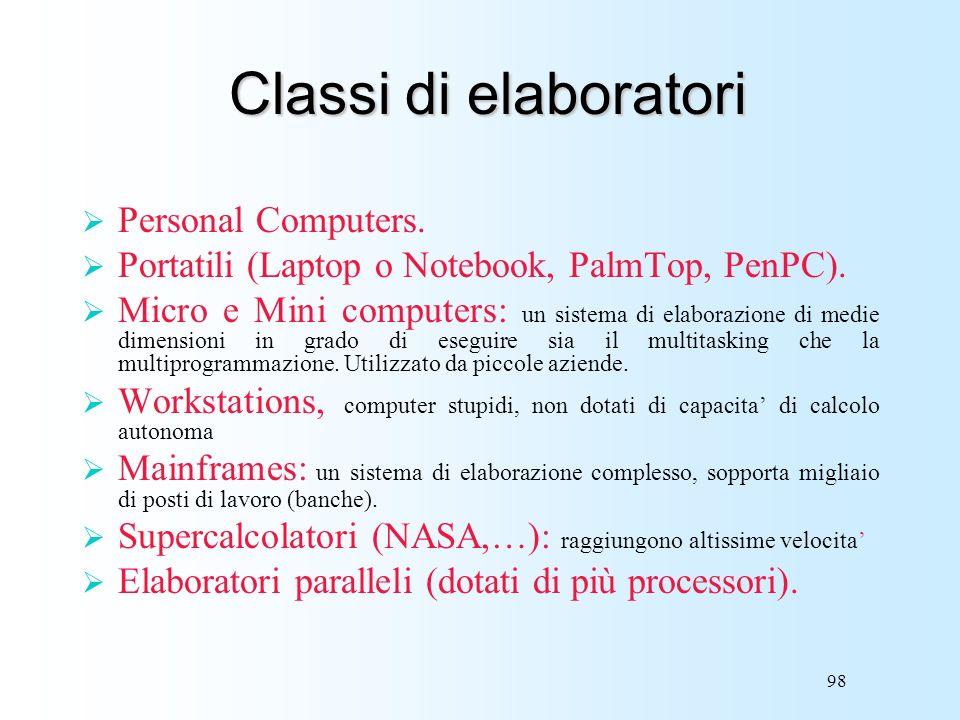 Classi di elaboratori Personal Computers.