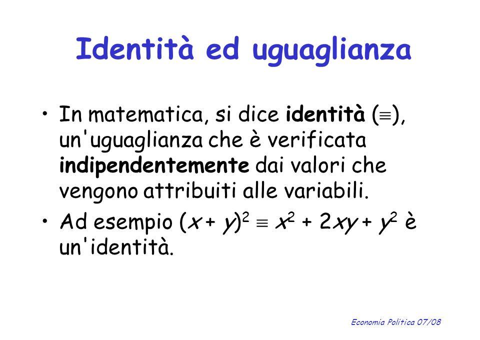 Identità ed uguaglianza
