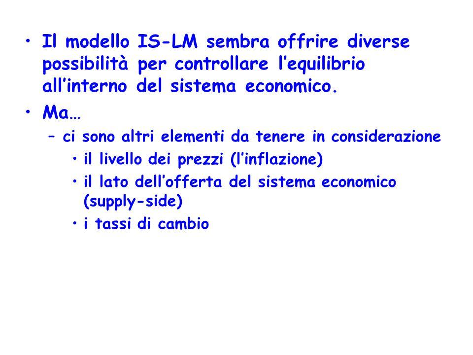 Il modello IS-LM sembra offrire diverse possibilità per controllare l'equilibrio all'interno del sistema economico.