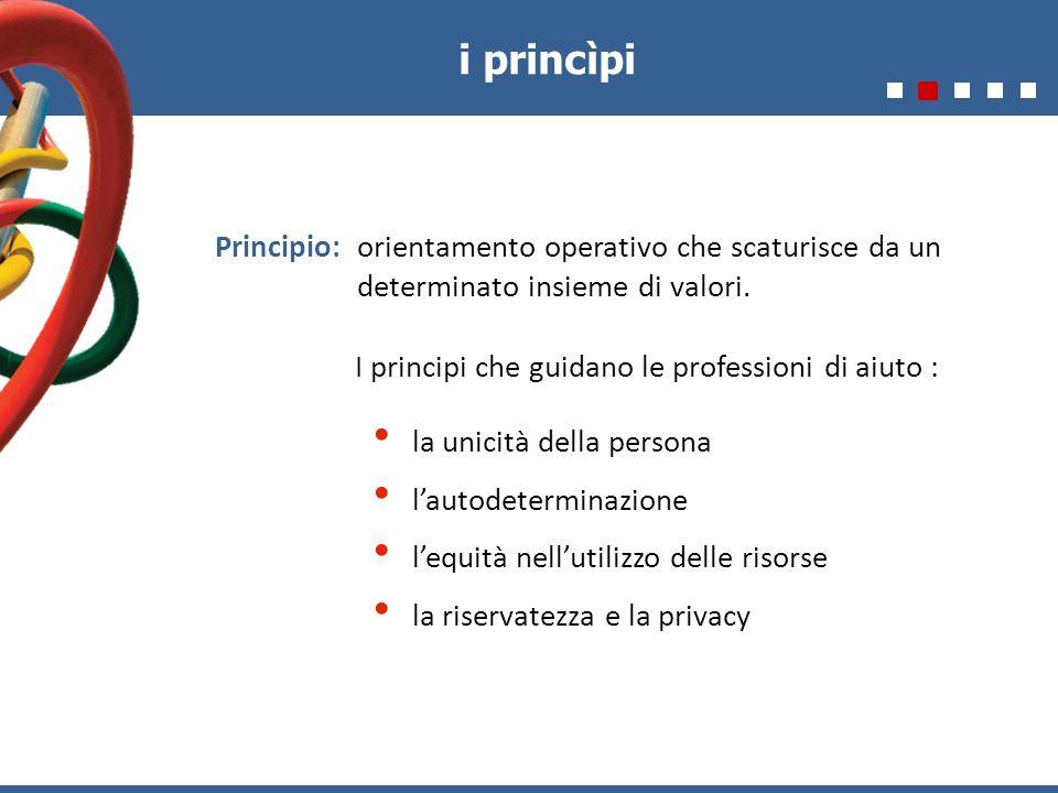 i princìpi Principio: orientamento operativo che scaturisce da un