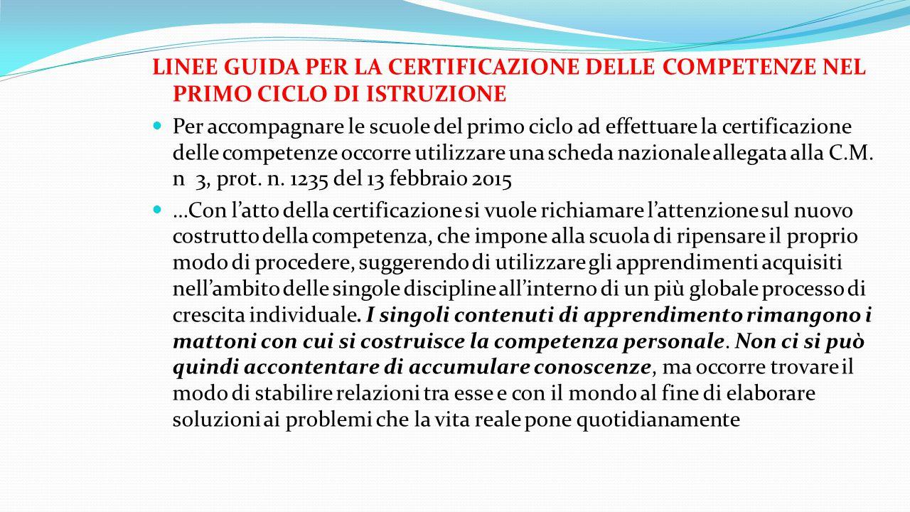 LINEE GUIDA PER LA CERTIFICAZIONE DELLE COMPETENZE NEL PRIMO CICLO DI ISTRUZIONE