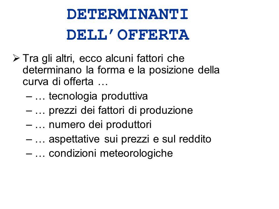 DETERMINANTI DELL'OFFERTA