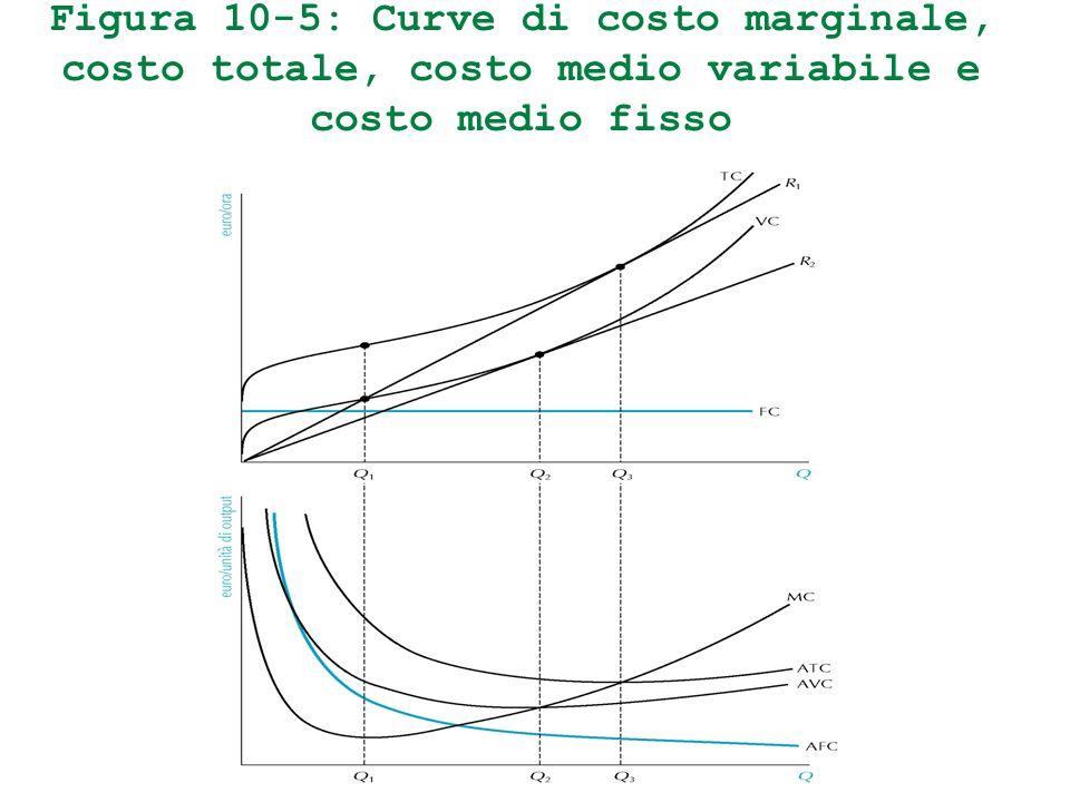 Figura 10-5: Curve di costo marginale, costo totale, costo medio variabile e costo medio fisso