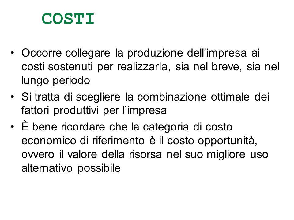 COSTI Occorre collegare la produzione dell'impresa ai costi sostenuti per realizzarla, sia nel breve, sia nel lungo periodo.