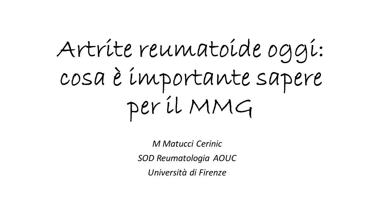 Artrite reumatoide oggi: cosa è importante sapere per il MMG