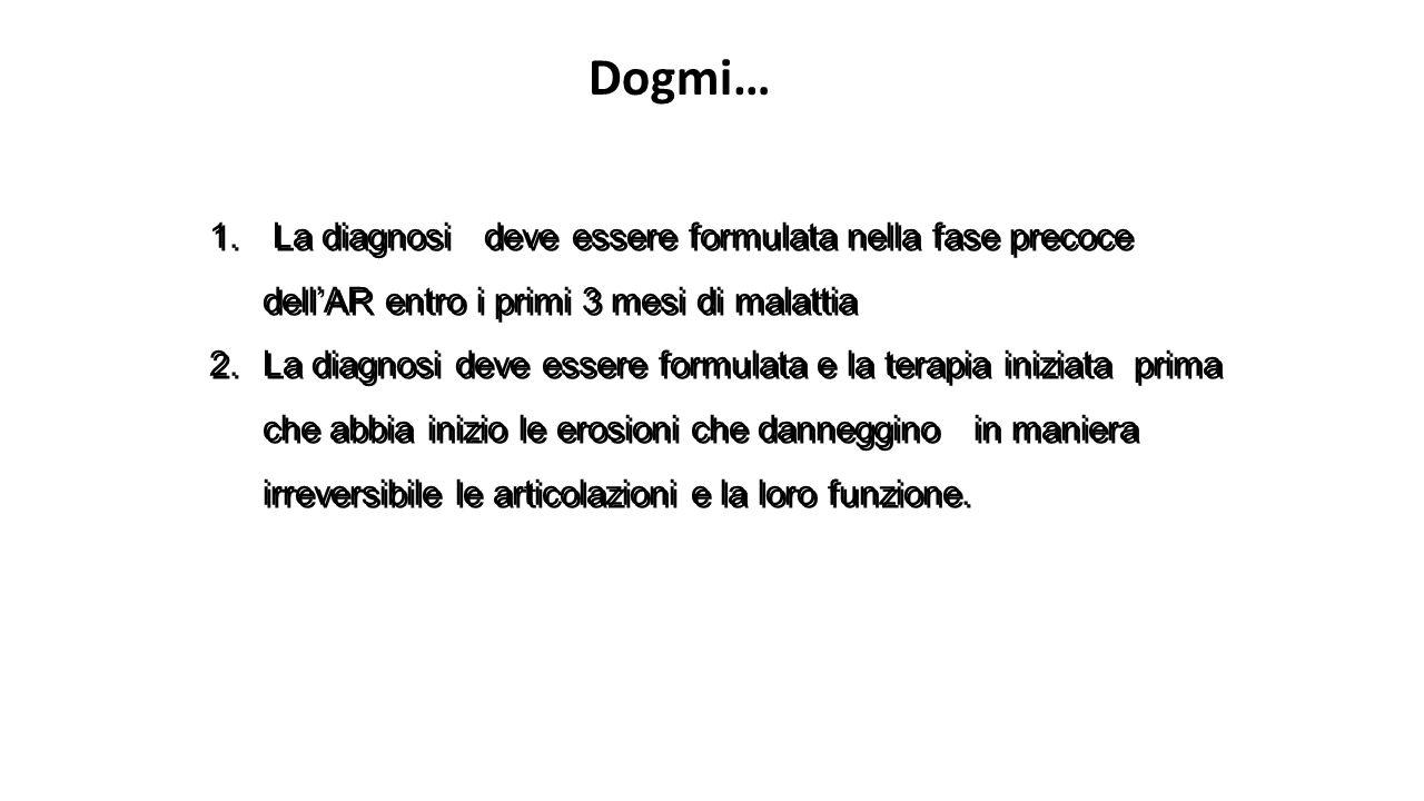 Dogmi… La diagnosi deve essere formulata nella fase precoce dell'AR entro i primi 3 mesi di malattia.