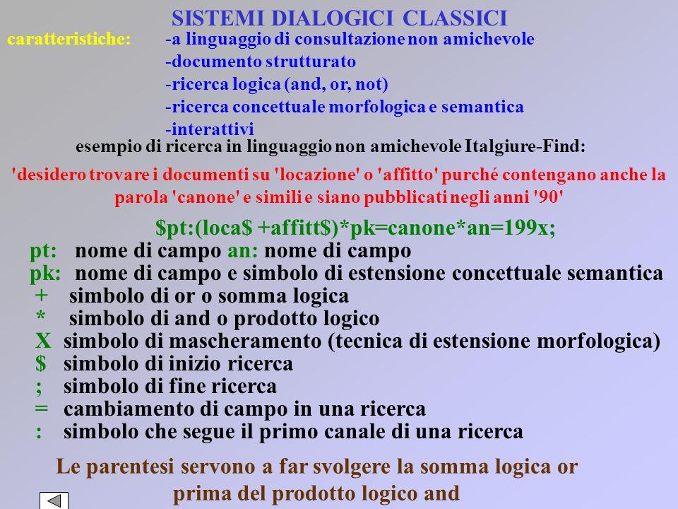 SISTEMI DIALOGICI CLASSICI