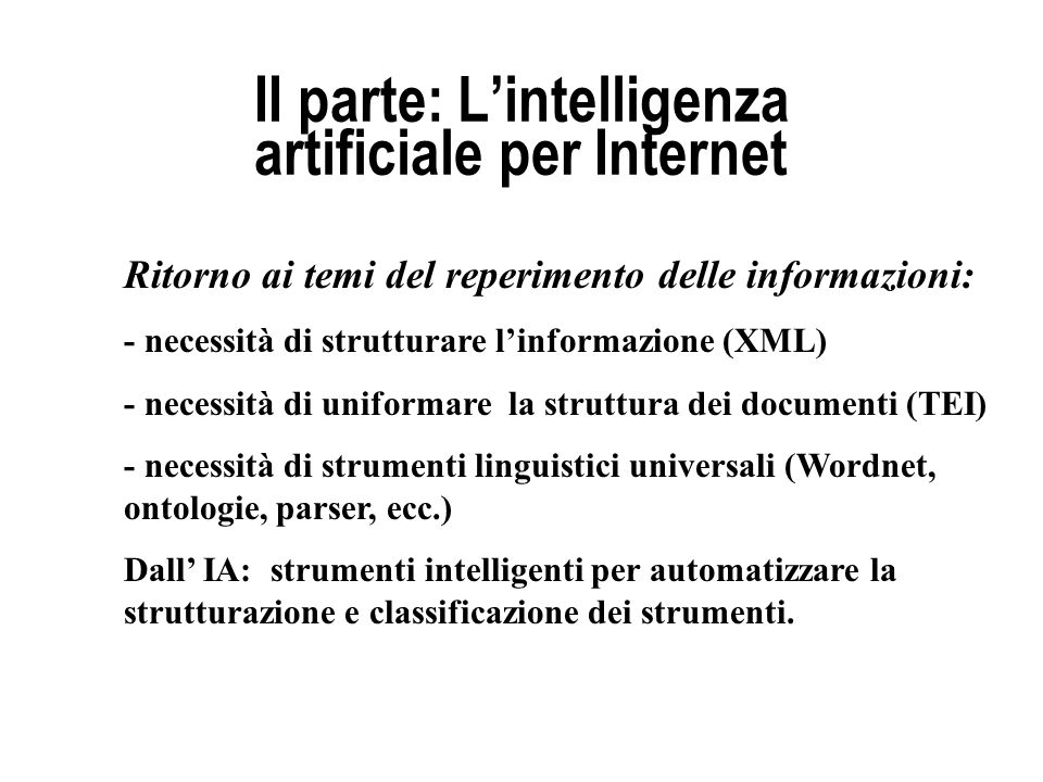 II parte: L'intelligenza artificiale per Internet