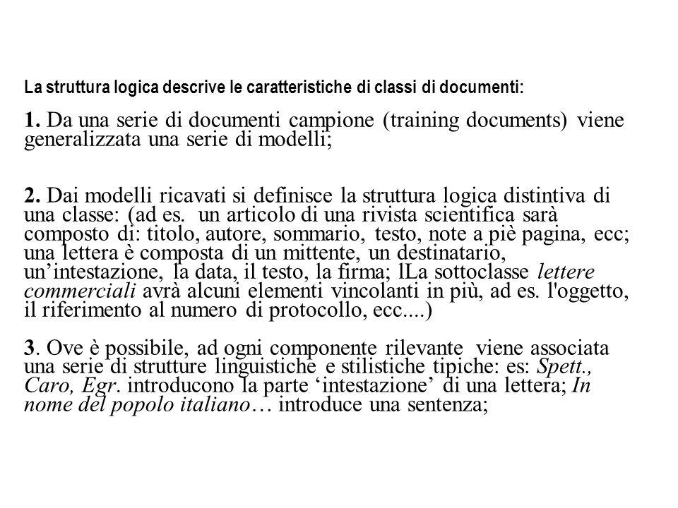 La struttura logica descrive le caratteristiche di classi di documenti: 1.