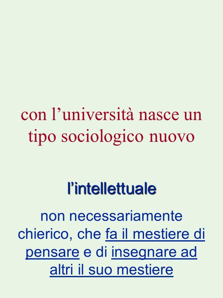 con l'università nasce un tipo sociologico nuovo