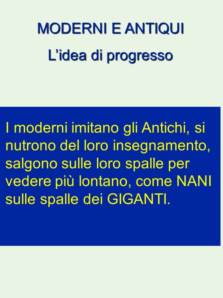 MODERNI E ANTIQUI L'idea di progresso.
