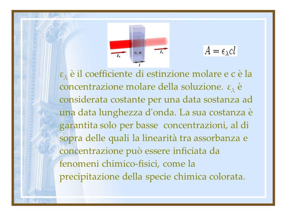 ελ è il coefficiente di estinzione molare e c è la concentrazione molare della soluzione.