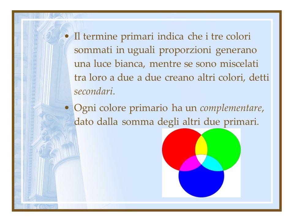 Il termine primari indica che i tre colori sommati in uguali proporzioni generano una luce bianca, mentre se sono miscelati tra loro a due a due creano altri colori, detti secondari.