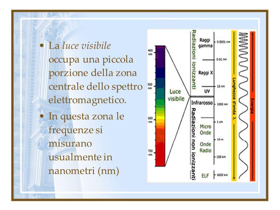La luce visibile occupa una piccola porzione della zona centrale dello spettro elettromagnetico.