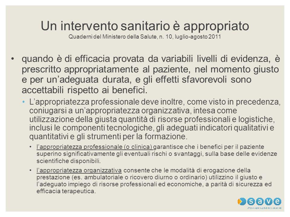 Un intervento sanitario è appropriato Quaderni del Ministero della Salute, n. 10, luglio-agosto 2011