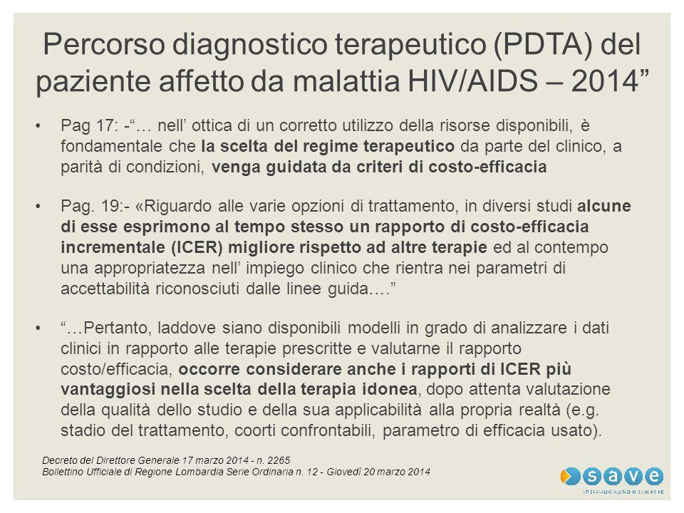 Percorso diagnostico terapeutico (PDTA) del paziente affetto da malattia HIV/AIDS – 2014