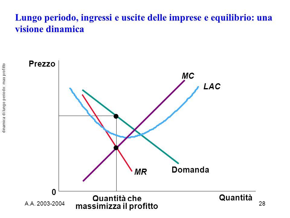 dinamica di lungo periodo: max profitto