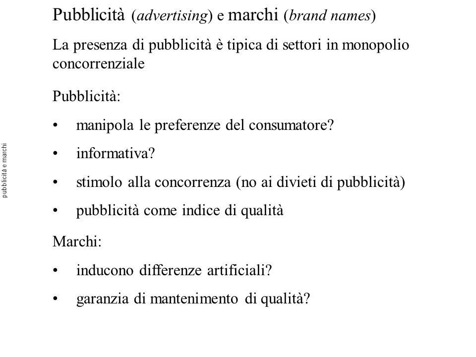 Pubblicità (advertising) e marchi (brand names)