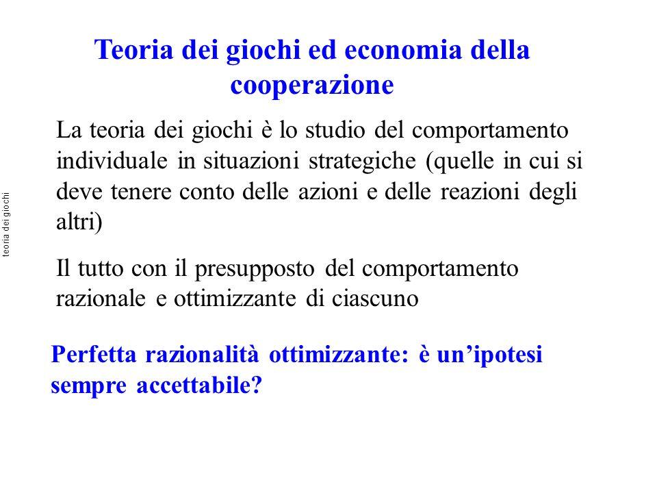 Teoria dei giochi ed economia della cooperazione