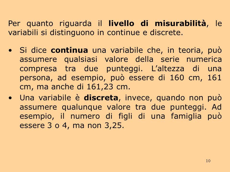 Per quanto riguarda il livello di misurabilità, le variabili si distinguono in continue e discrete.