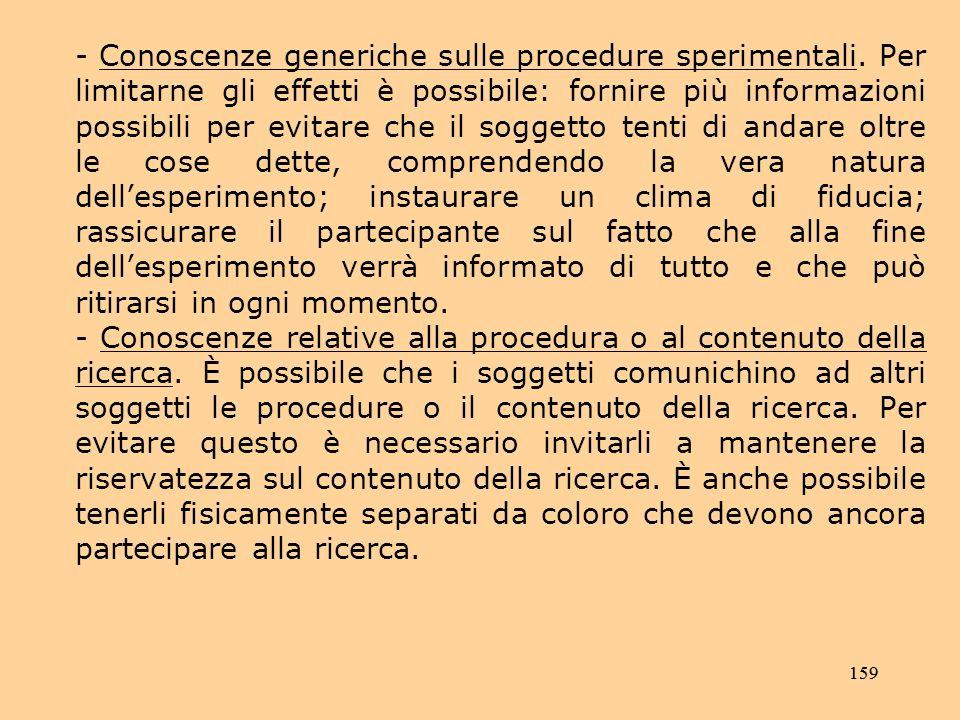 - Conoscenze generiche sulle procedure sperimentali