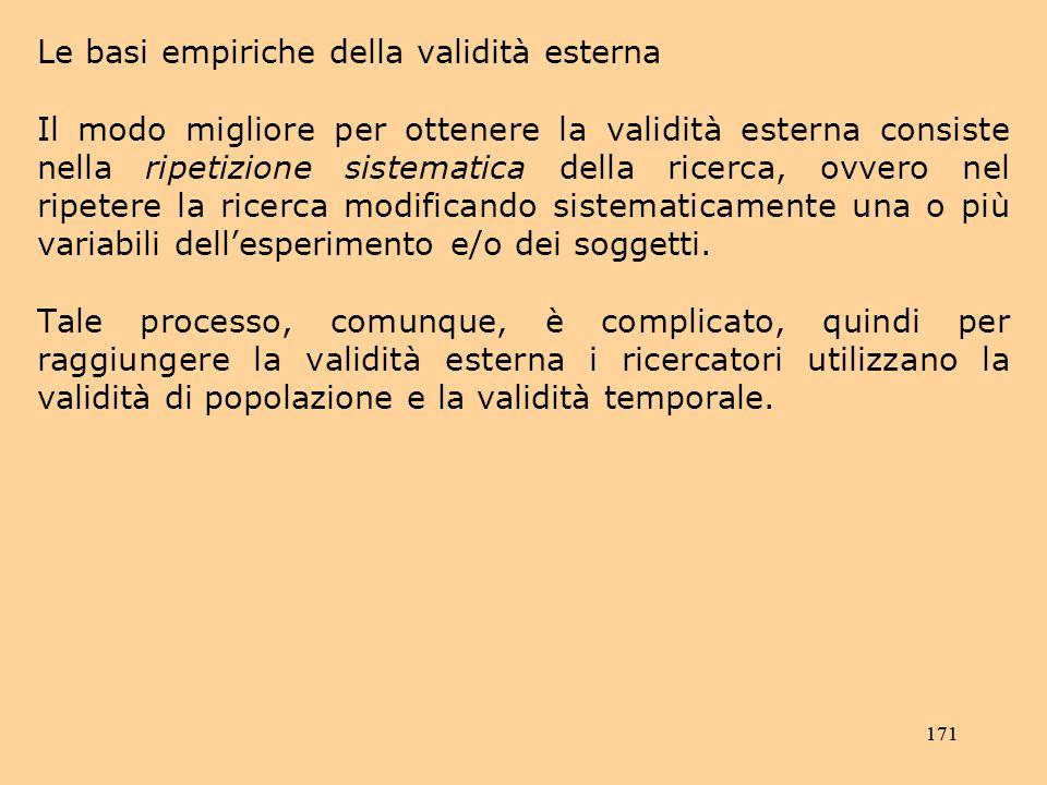 Le basi empiriche della validità esterna