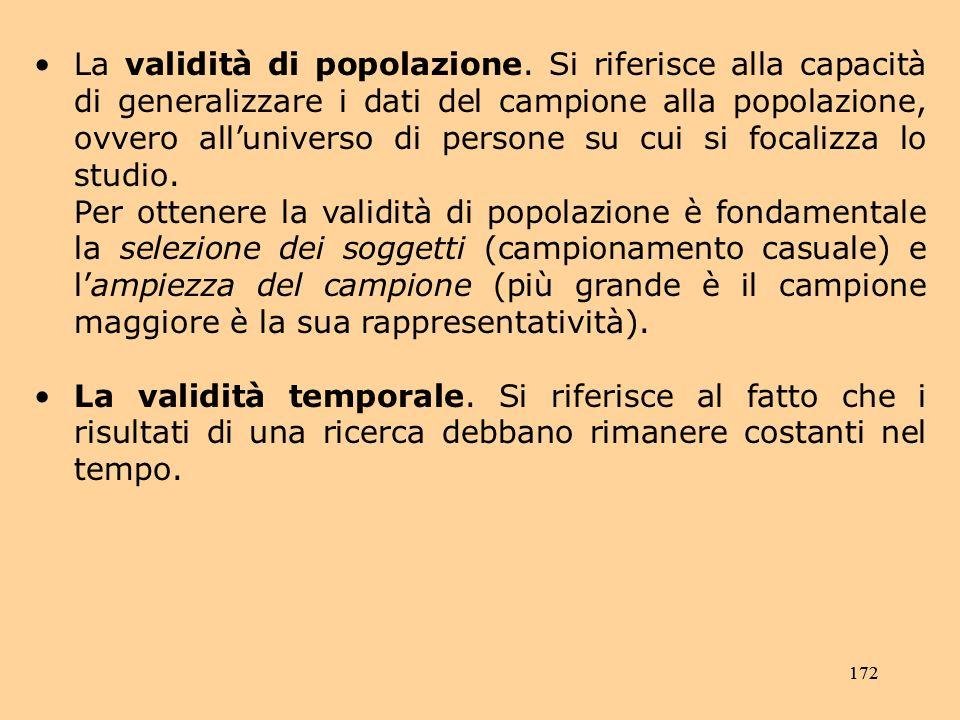 La validità di popolazione