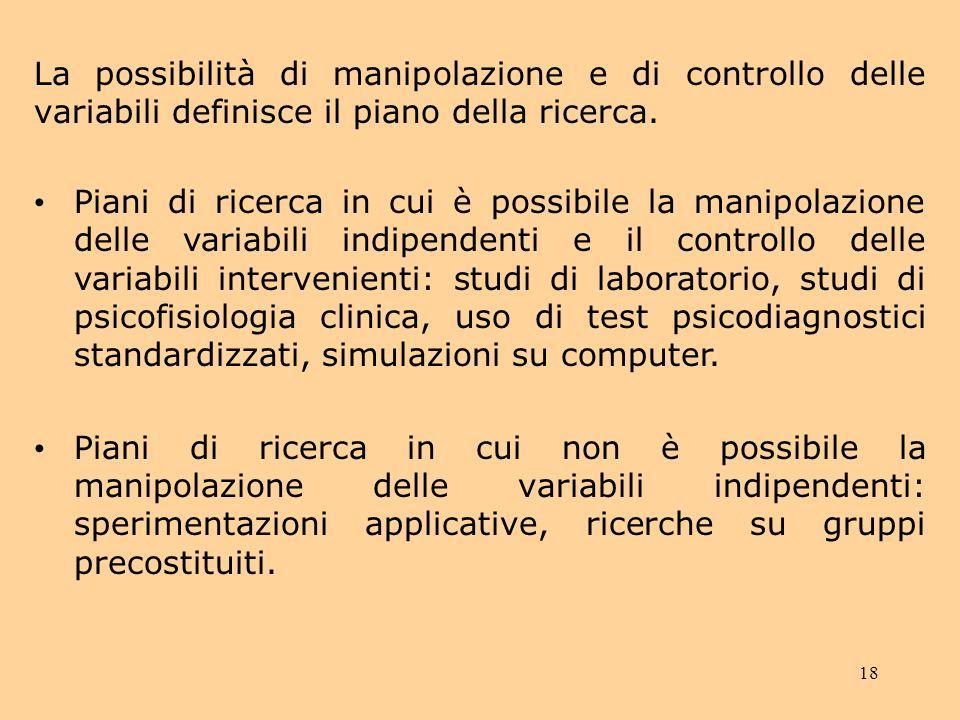 La possibilità di manipolazione e di controllo delle variabili definisce il piano della ricerca.