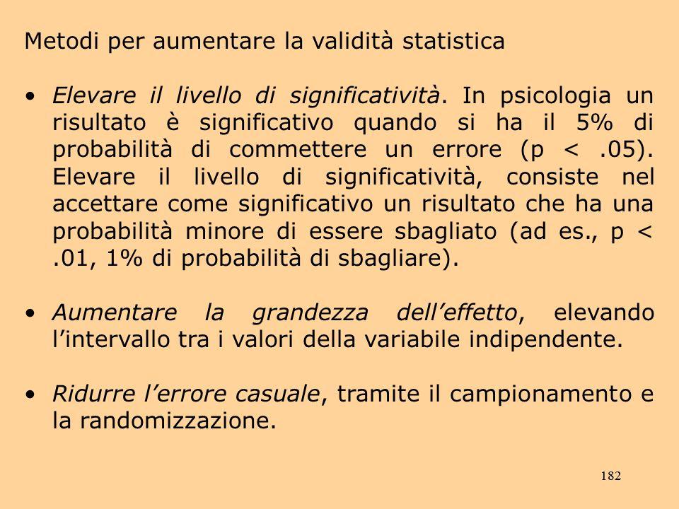 Metodi per aumentare la validità statistica
