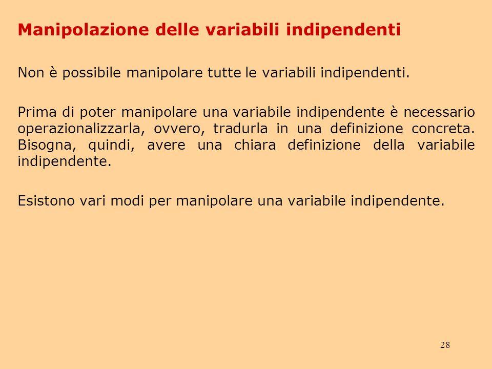Manipolazione delle variabili indipendenti