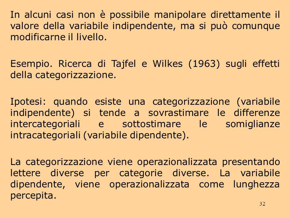 In alcuni casi non è possibile manipolare direttamente il valore della variabile indipendente, ma si può comunque modificarne il livello.