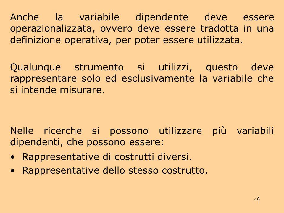 Anche la variabile dipendente deve essere operazionalizzata, ovvero deve essere tradotta in una definizione operativa, per poter essere utilizzata.
