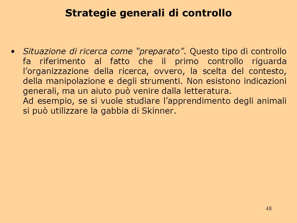 Strategie generali di controllo