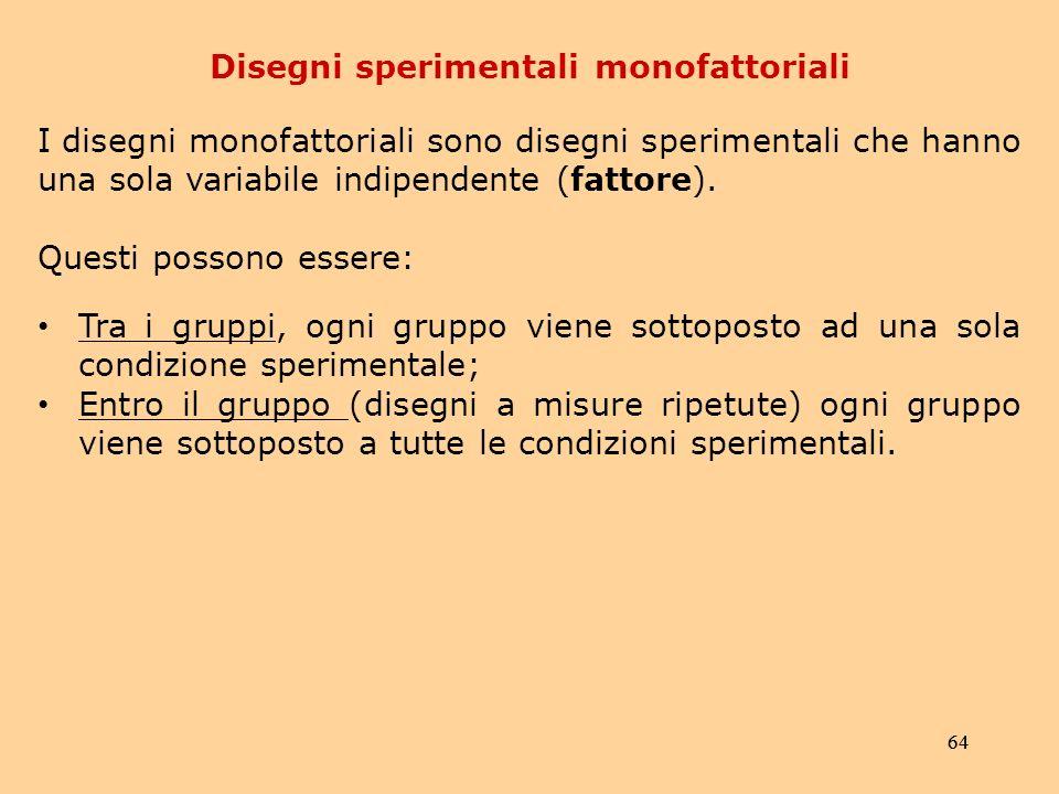 Disegni sperimentali monofattoriali