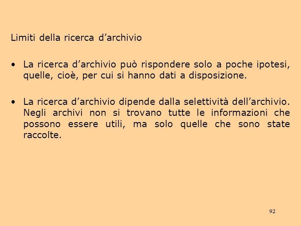 Limiti della ricerca d'archivio