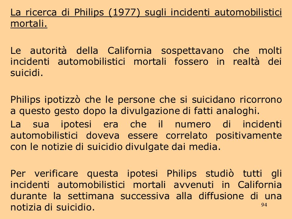 La ricerca di Philips (1977) sugli incidenti automobilistici mortali.