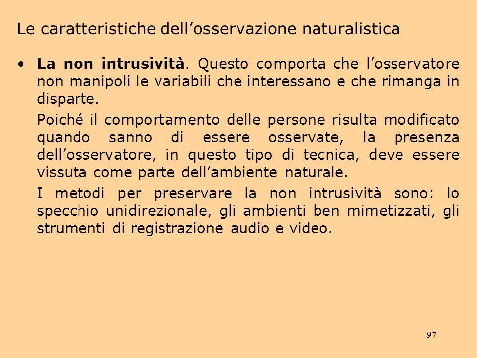 Le caratteristiche dell'osservazione naturalistica