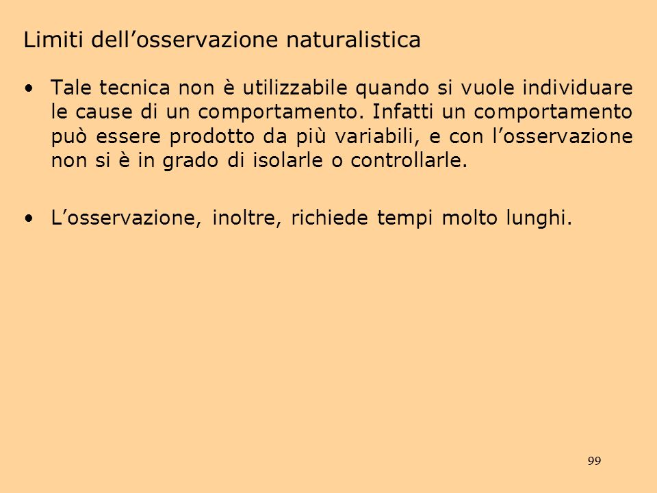 Limiti dell'osservazione naturalistica