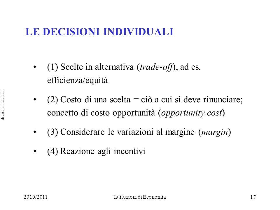 LE DECISIONI INDIVIDUALI