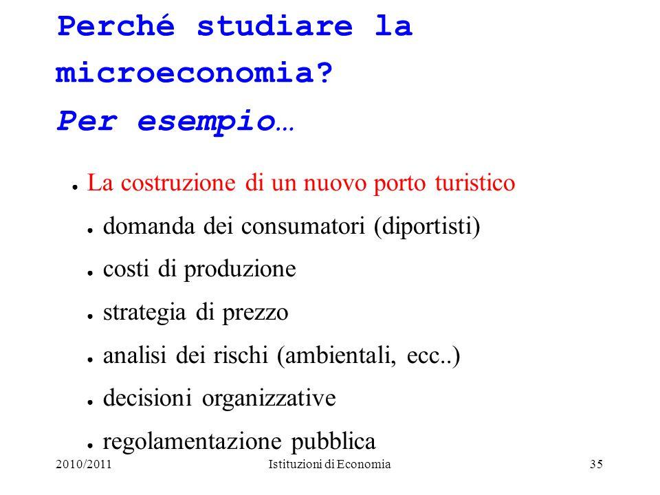 Perché studiare la microeconomia Per esempio…