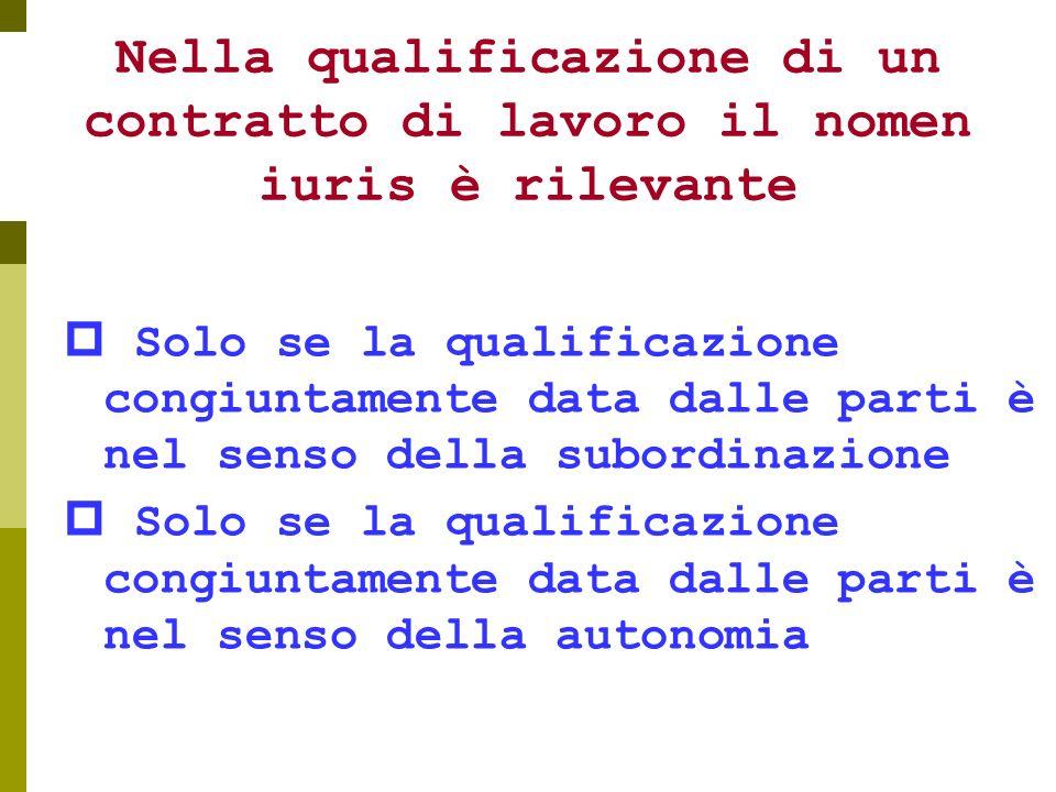 Nella qualificazione di un contratto di lavoro il nomen iuris è rilevante