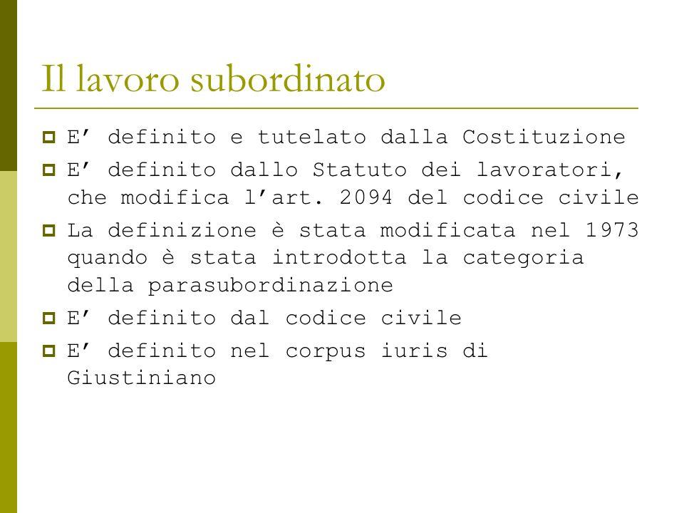 Il lavoro subordinato E' definito e tutelato dalla Costituzione