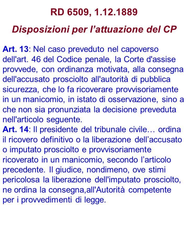 RD 6509, 1.12.1889 Disposizioni per l'attuazione del CP