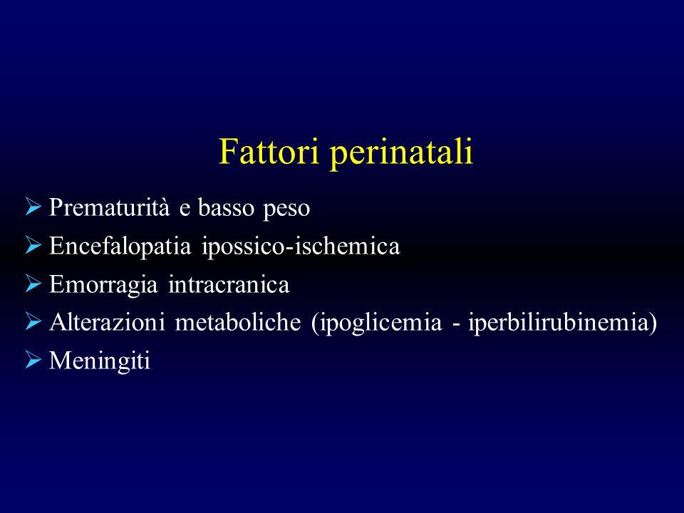 Fattori perinatali Prematurità e basso peso