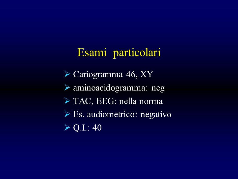 Esami particolari Cariogramma 46, XY aminoacidogramma: neg