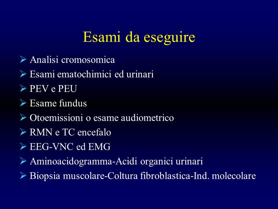 Esami da eseguire Analisi cromosomica Esami ematochimici ed urinari